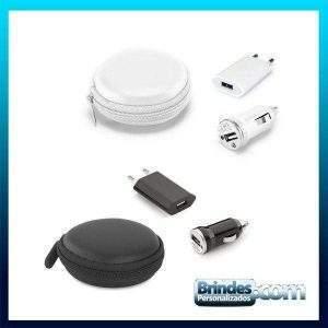 Kit de carregadores USB com bolsa